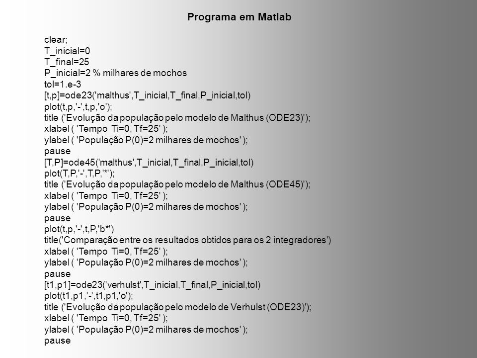 Programa em Matlab clear; T_inicial=0 T_final=25