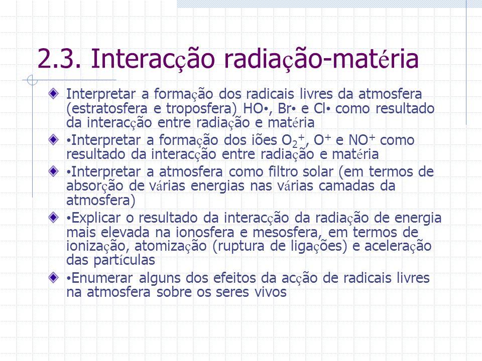 2.3. Interacção radiação-matéria