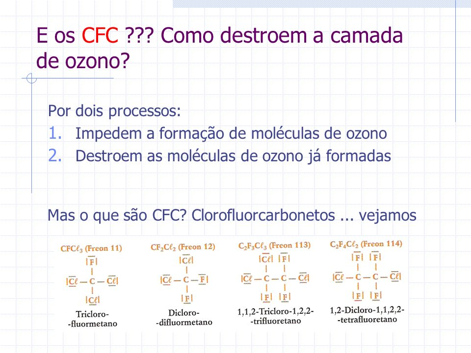 E os CFC Como destroem a camada de ozono