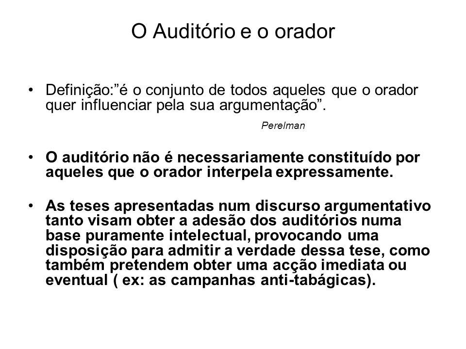 O Auditório e o orador Definição: é o conjunto de todos aqueles que o orador quer influenciar pela sua argumentação .