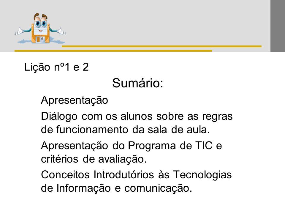 Sumário: Lição nº1 e 2 Apresentação