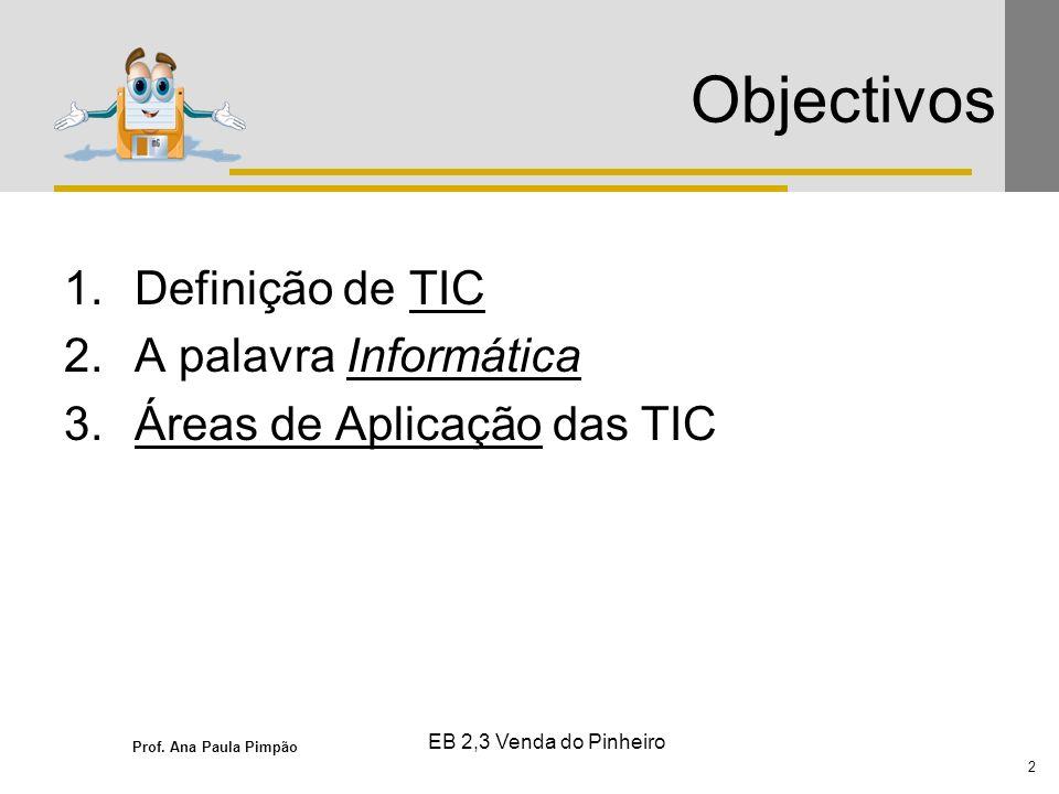 Objectivos Definição de TIC A palavra Informática