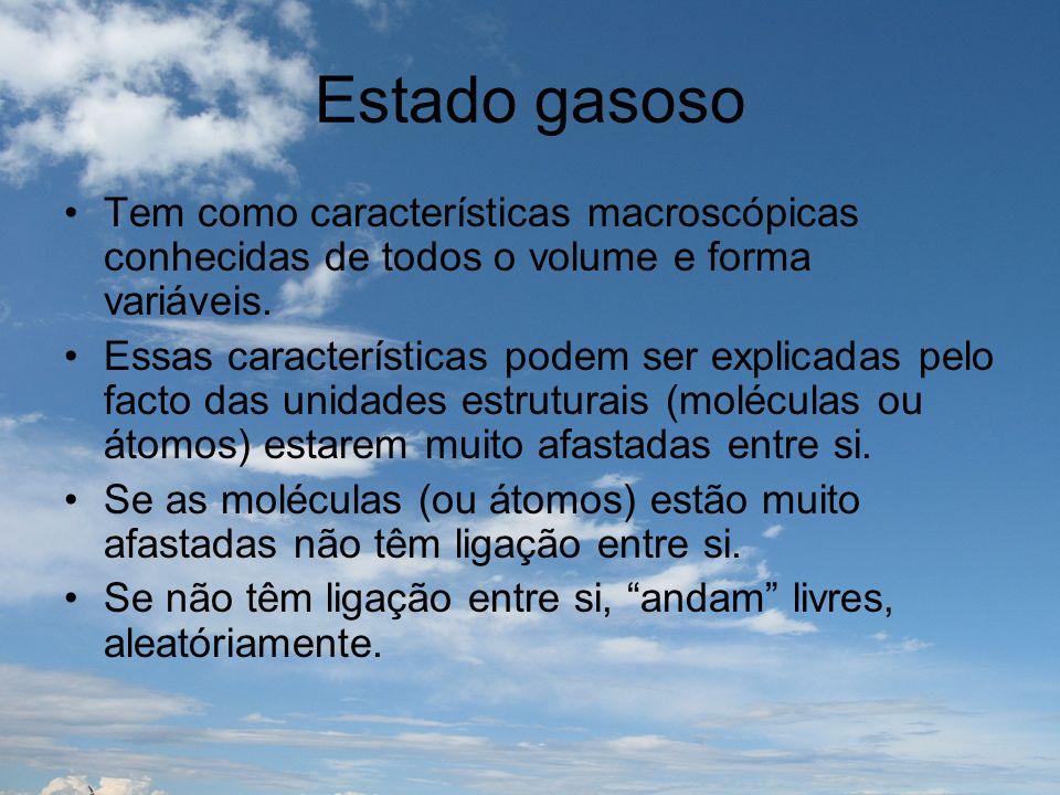 Estado gasoso Tem como características macroscópicas conhecidas de todos o volume e forma variáveis.
