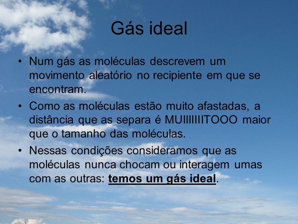 Gás ideal Num gás as moléculas descrevem um movimento aleatório no recipiente em que se encontram.
