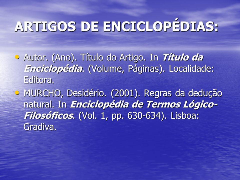 ARTIGOS DE ENCICLOPÉDIAS:
