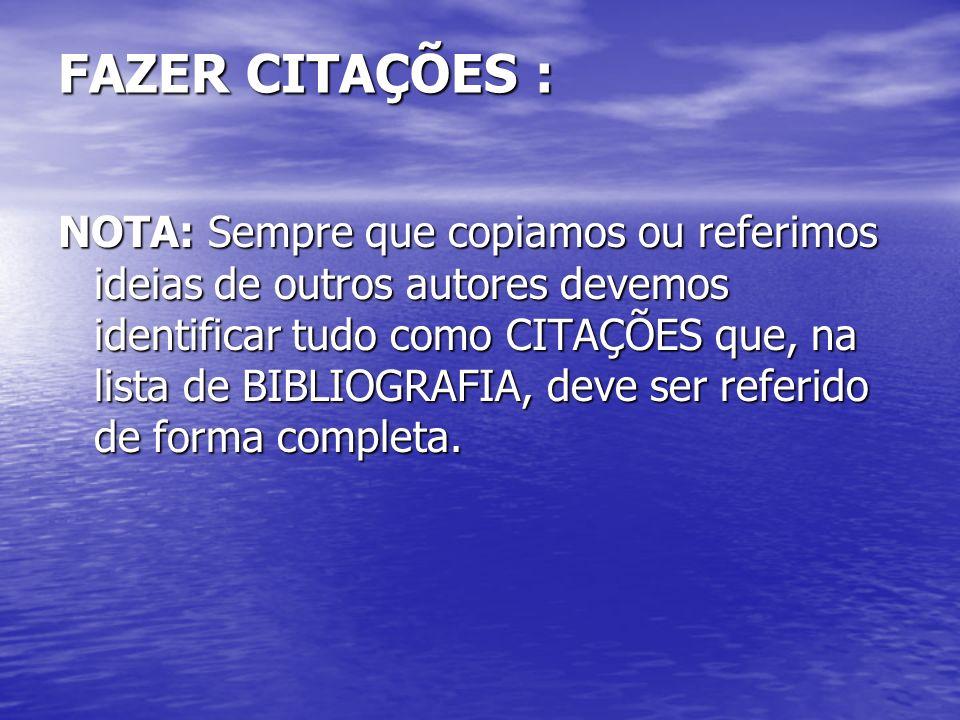 FAZER CITAÇÕES :