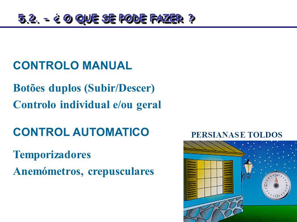 Botões duplos (Subir/Descer) Controlo individual e/ou geral
