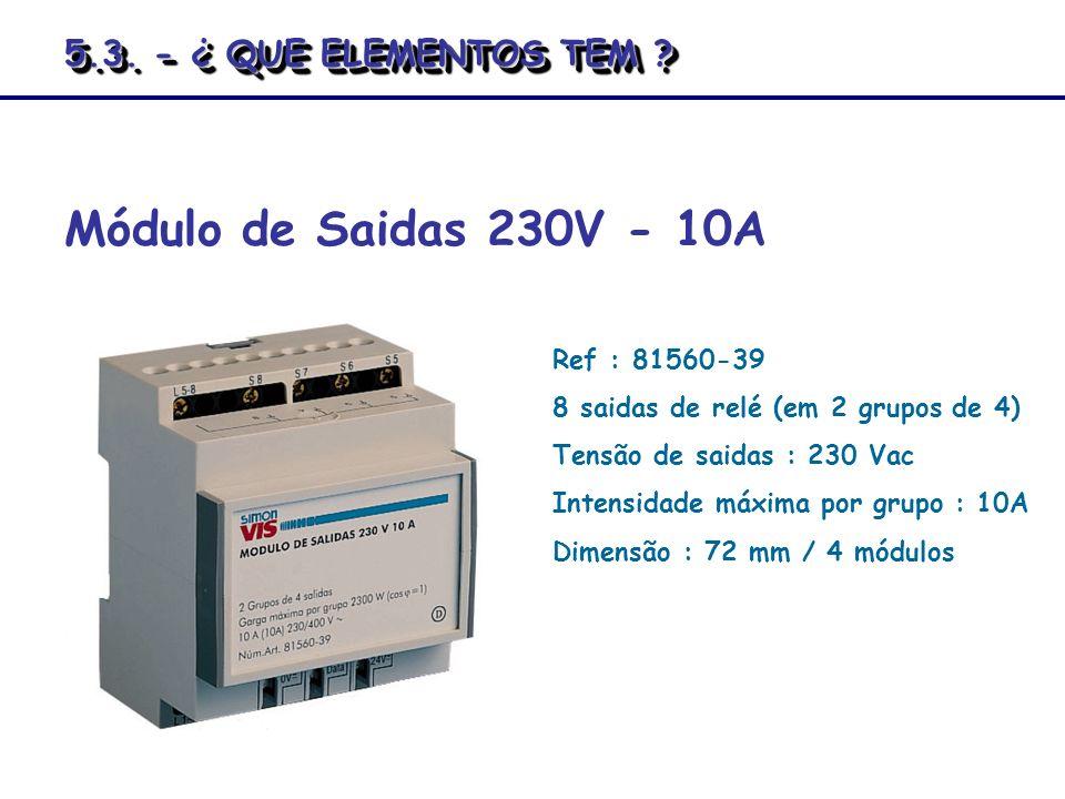 Módulo de Saidas 230V - 10A 5.3. - ¿ QUE ELEMENTOS TEM