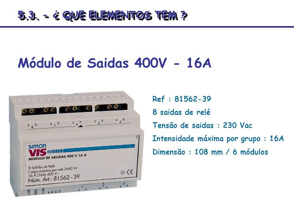 Módulo de Saidas 400V - 16A 5.3. - ¿ QUE ELEMENTOS TEM