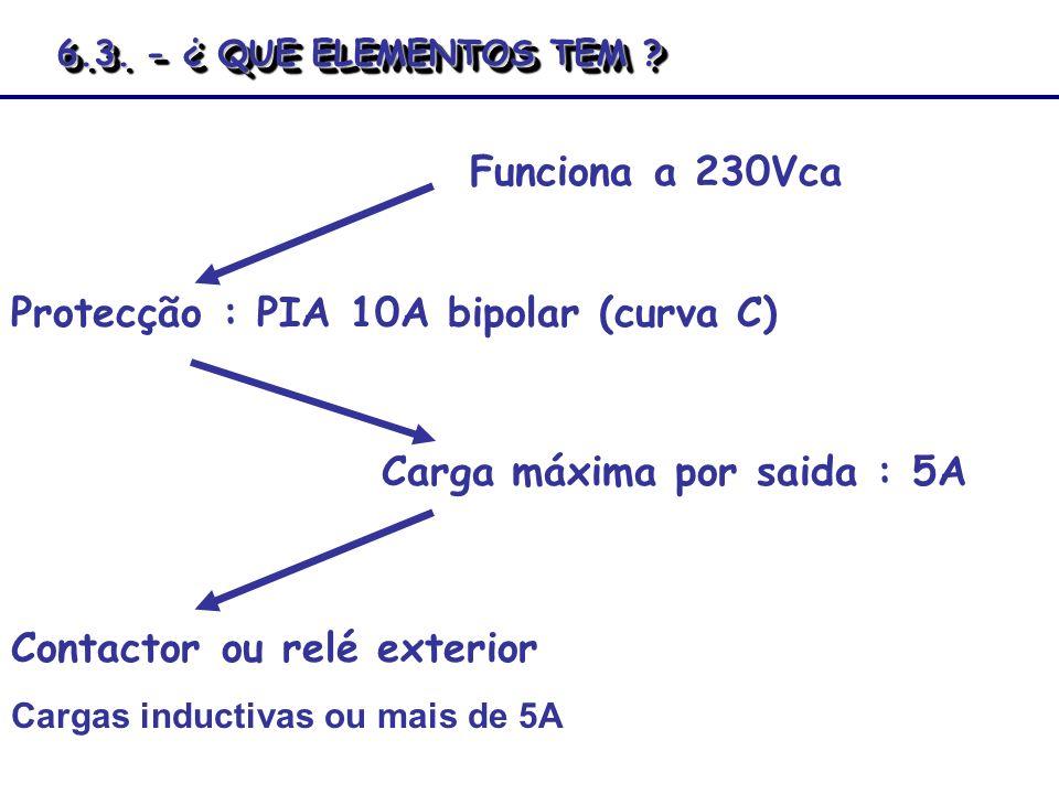 Protecção : PIA 10A bipolar (curva C)