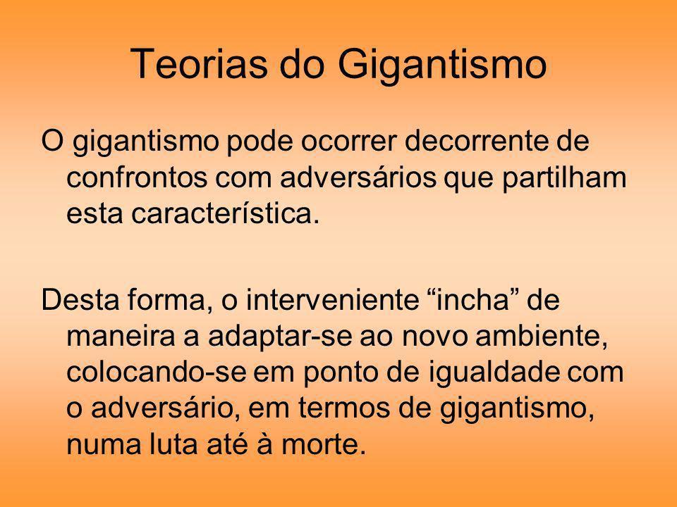 Teorias do Gigantismo O gigantismo pode ocorrer decorrente de confrontos com adversários que partilham esta característica.