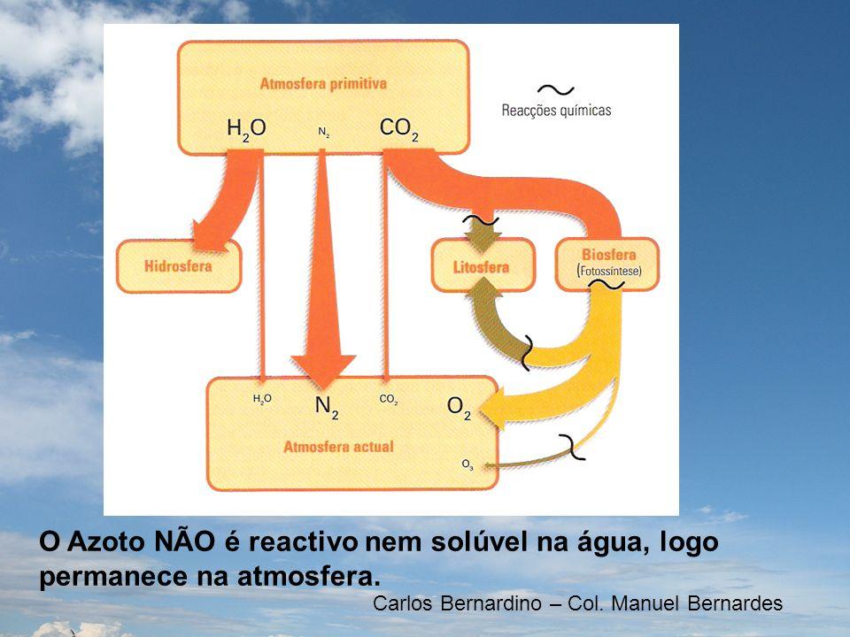 O Azoto NÃO é reactivo nem solúvel na água, logo permanece na atmosfera.