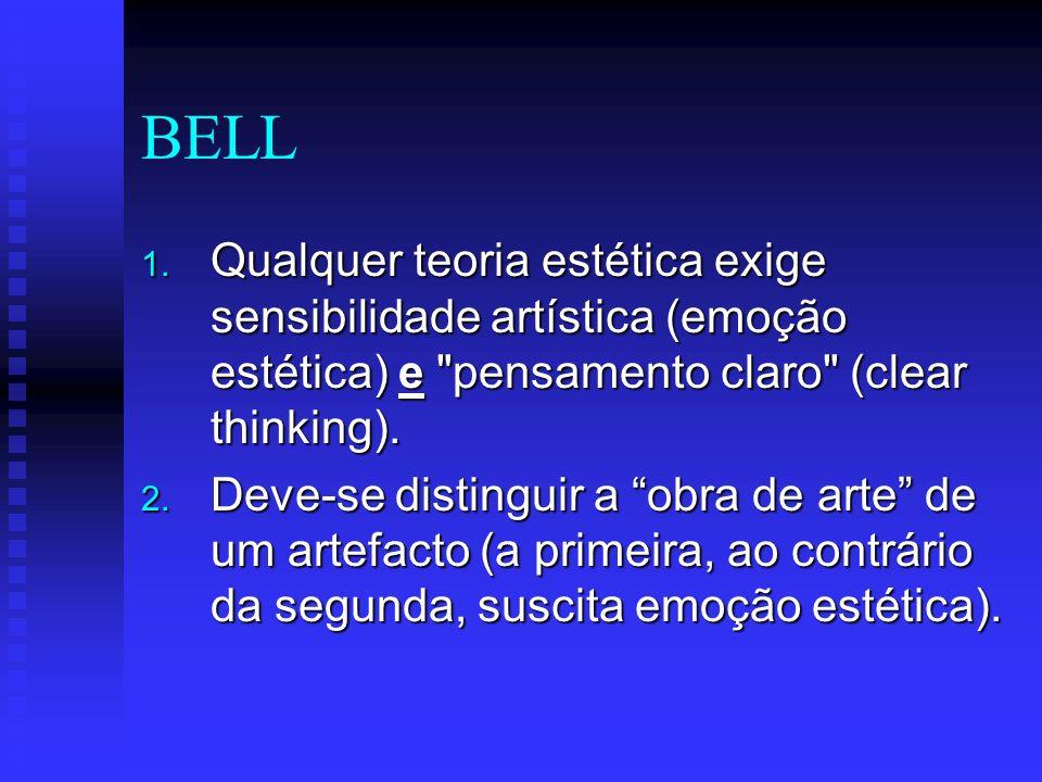 BELL Qualquer teoria estética exige sensibilidade artística (emoção estética) e pensamento claro (clear thinking).