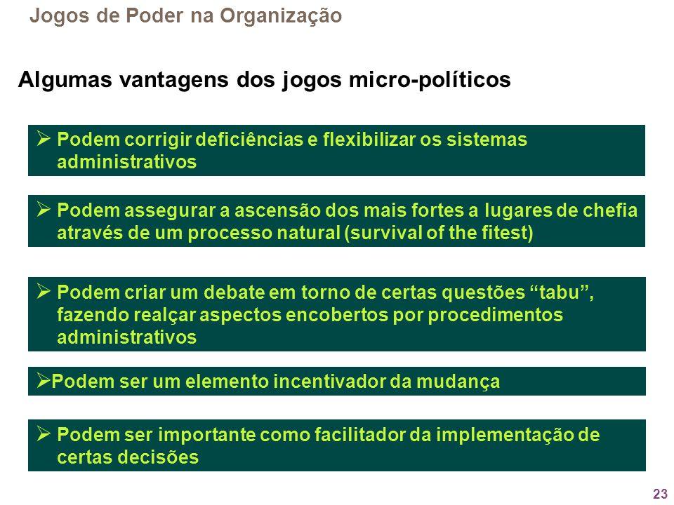 Algumas vantagens dos jogos micro-políticos