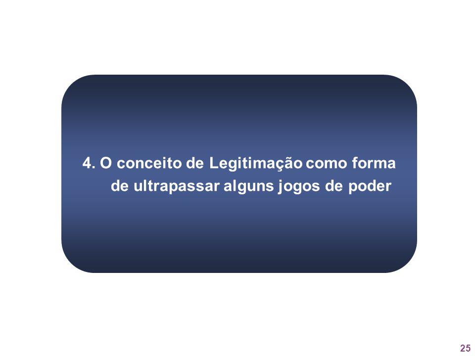 4. O conceito de Legitimação como forma de ultrapassar alguns jogos de poder