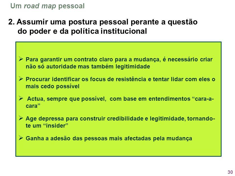 Um road map pessoal2. Assumir uma postura pessoal perante a questão do poder e da política institucional.