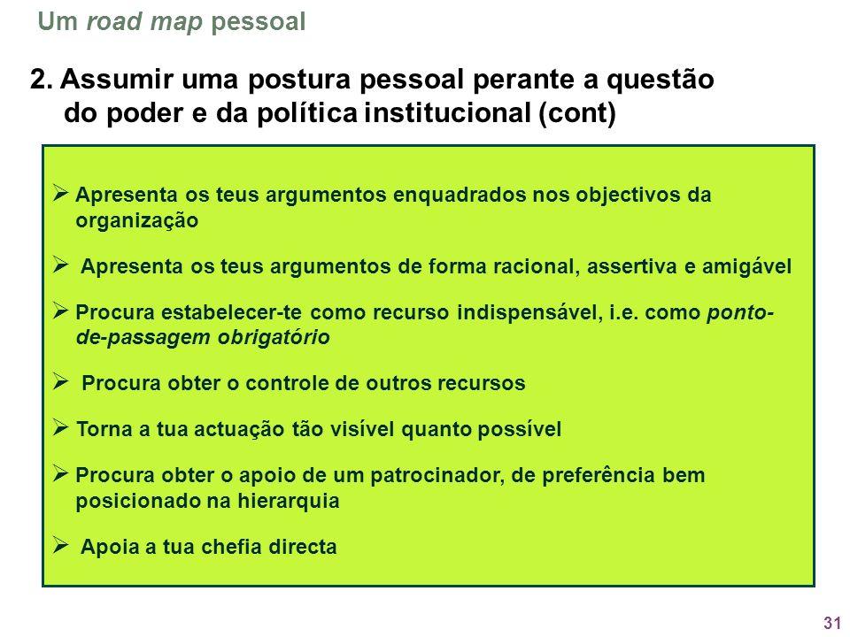 Um road map pessoal2. Assumir uma postura pessoal perante a questão do poder e da política institucional (cont)
