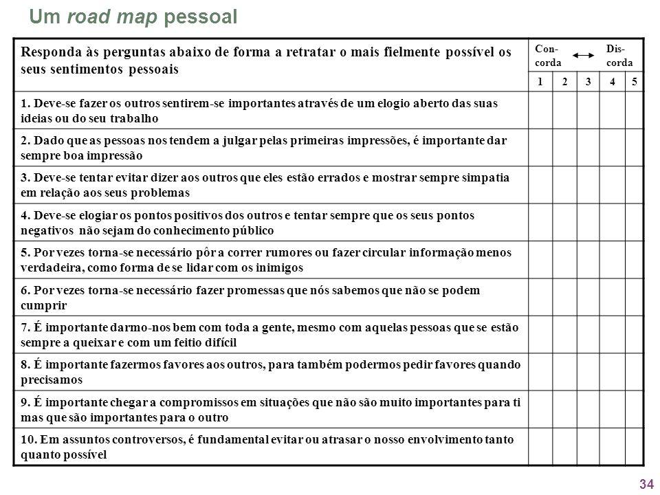 Um road map pessoal Responda às perguntas abaixo de forma a retratar o mais fielmente possível os seus sentimentos pessoais.