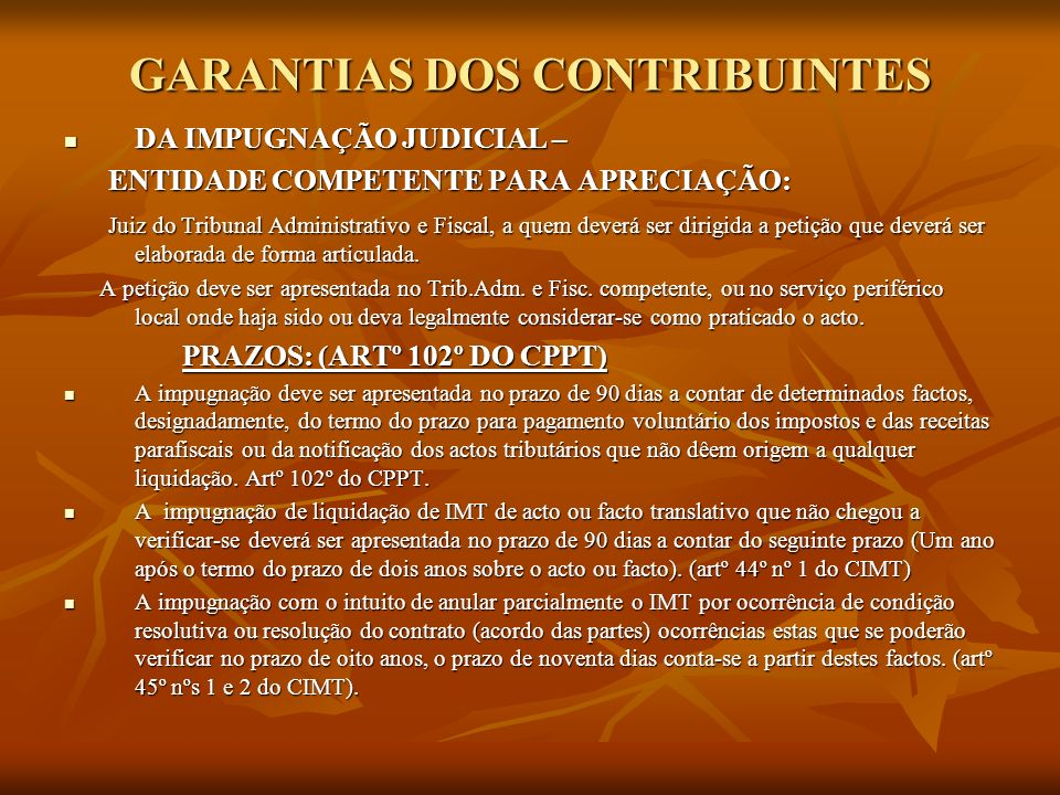 GARANTIAS DOS CONTRIBUINTES