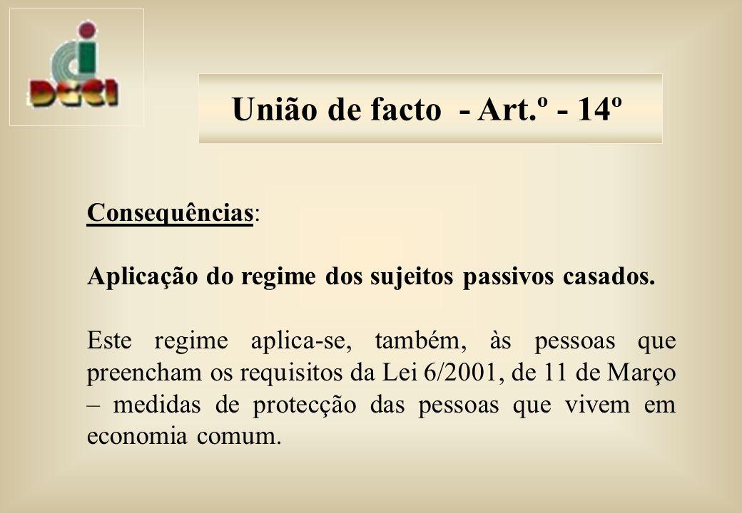 União de facto - Art.º - 14º Consequências:
