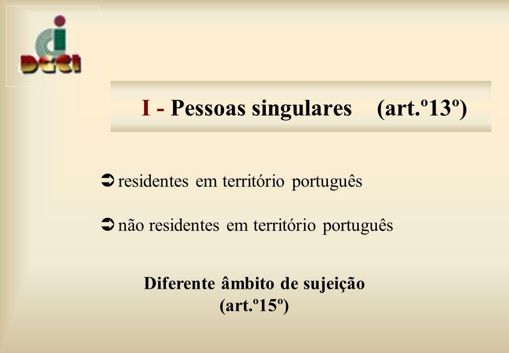 I - Pessoas singulares (art.º13º)