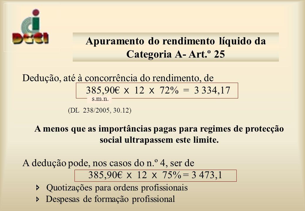 Apuramento do rendimento líquido da Categoria A- Art.º 25
