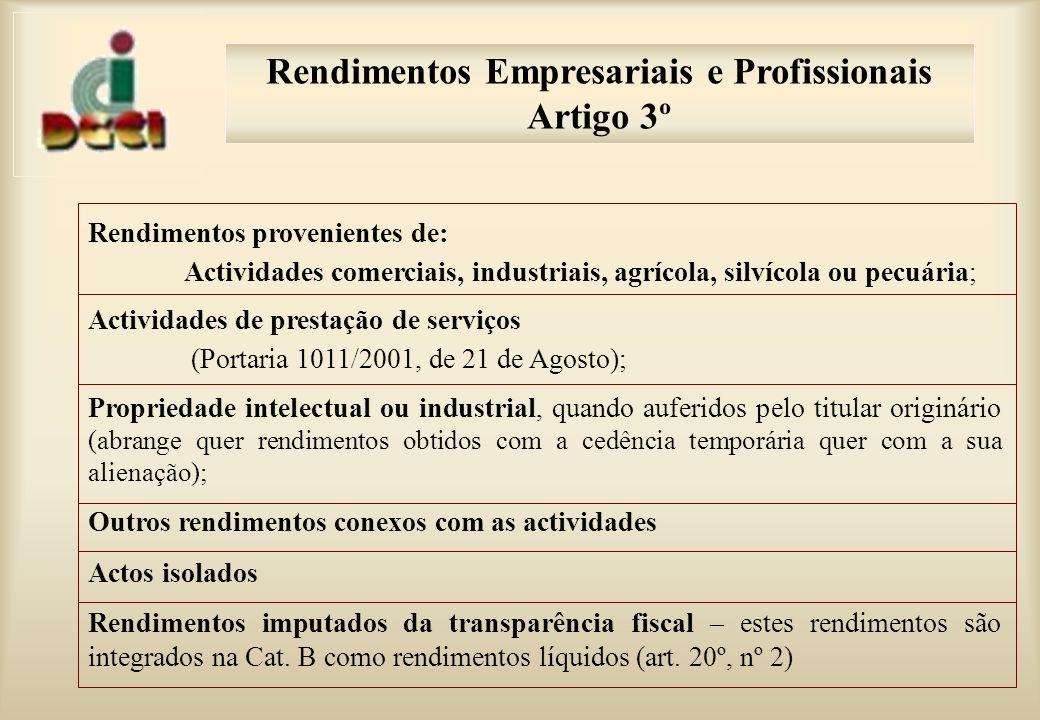 Rendimentos Empresariais e Profissionais Artigo 3º