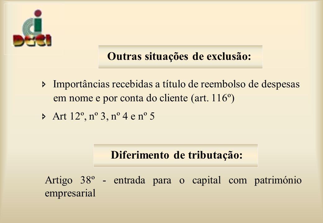 Outras situações de exclusão: Diferimento de tributação: