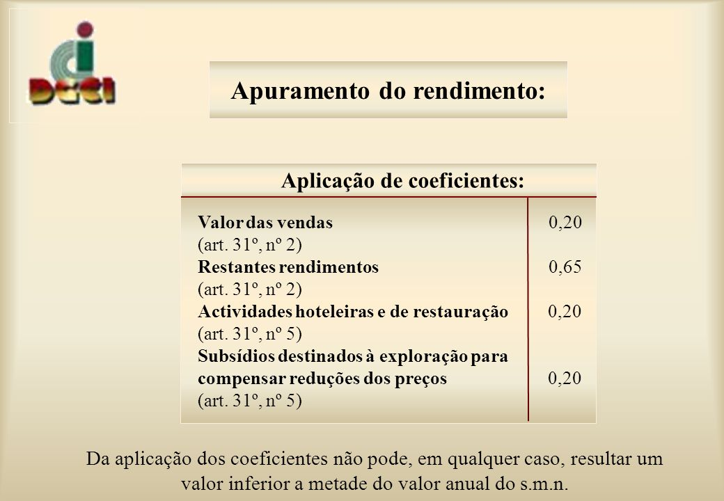 Apuramento do rendimento: