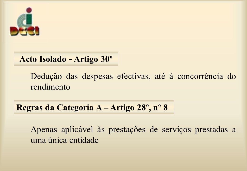 Acto Isolado - Artigo 30º Dedução das despesas efectivas, até à concorrência do rendimento.