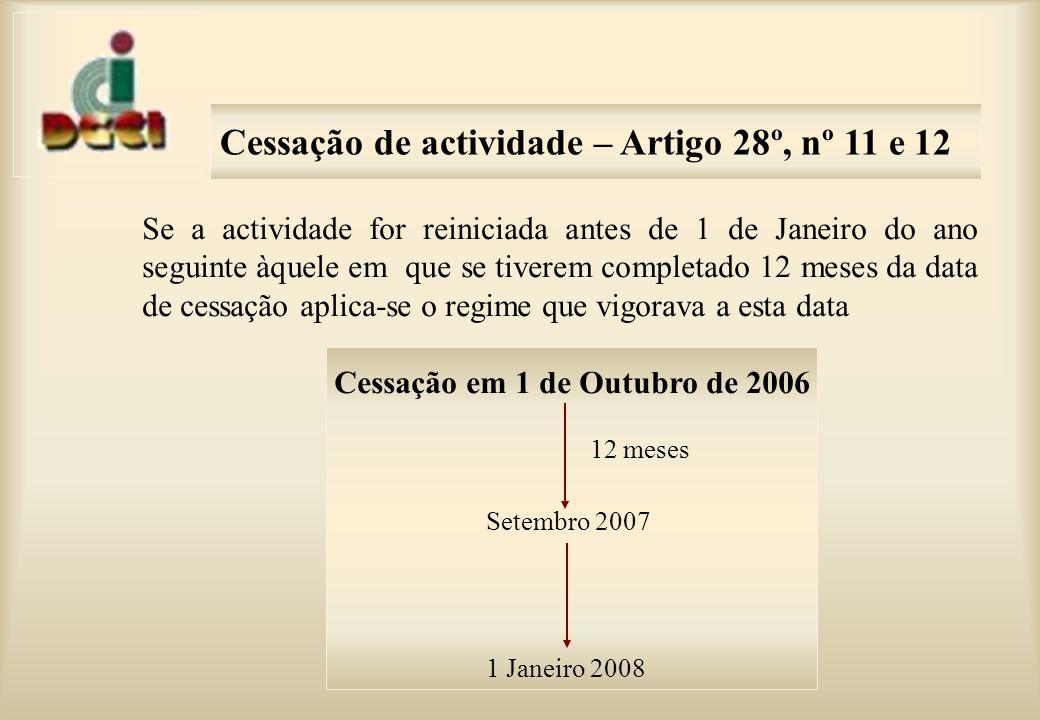 Cessação de actividade – Artigo 28º, nº 11 e 12