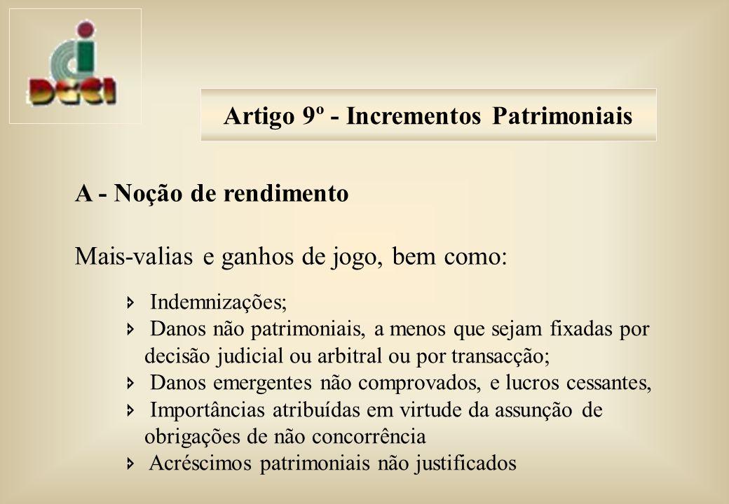 Artigo 9º - Incrementos Patrimoniais