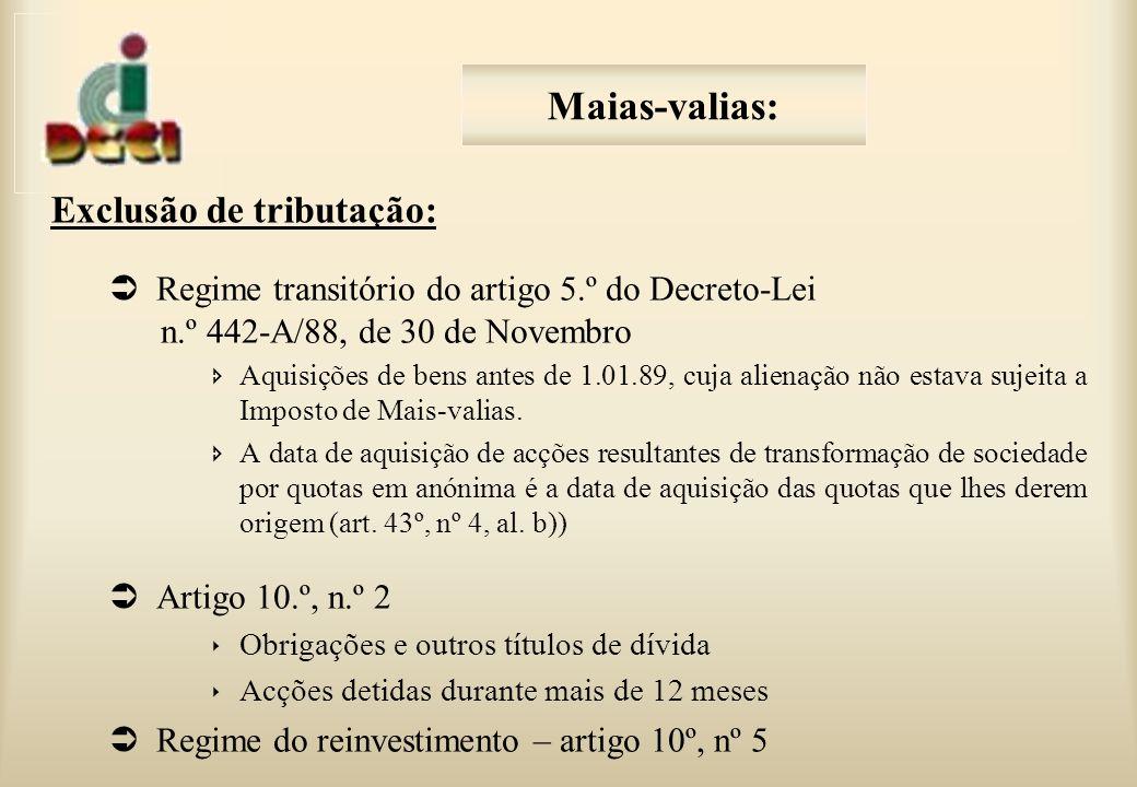 Maias-valias: Exclusão de tributação: