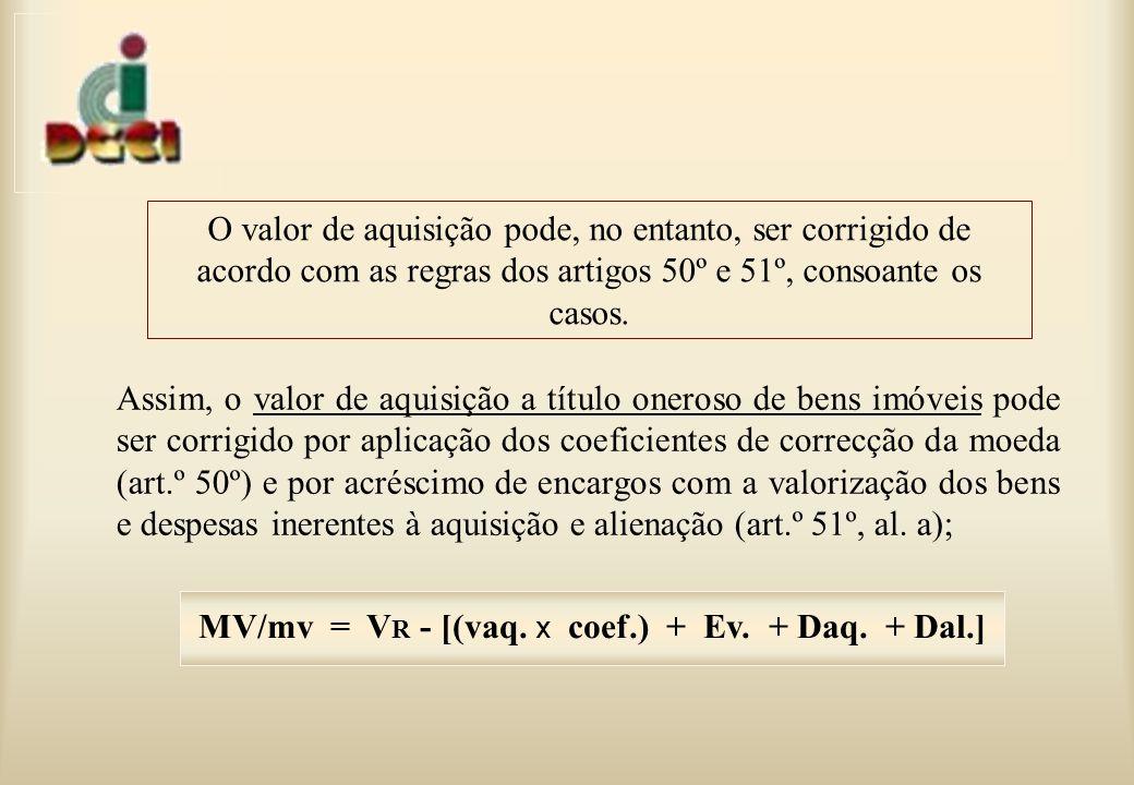O valor de aquisição pode, no entanto, ser corrigido de acordo com as regras dos artigos 50º e 51º, consoante os casos.