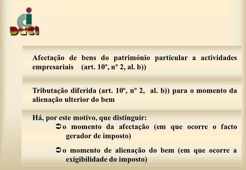 Afectação de bens do património particular a actividades empresariais (art. 10º, nº 2, al. b))