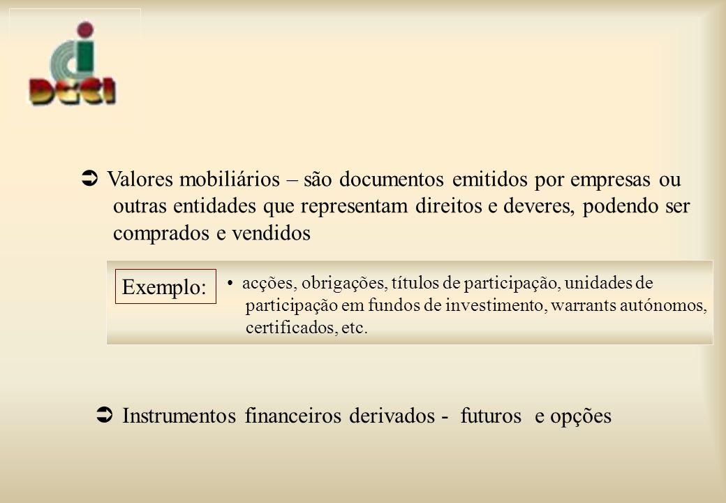Valores mobiliários – são documentos emitidos por empresas ou