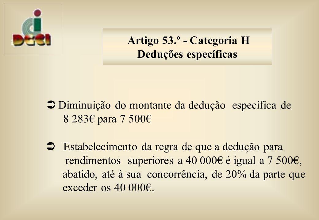 Artigo 53.º - Categoria H Deduções específicas