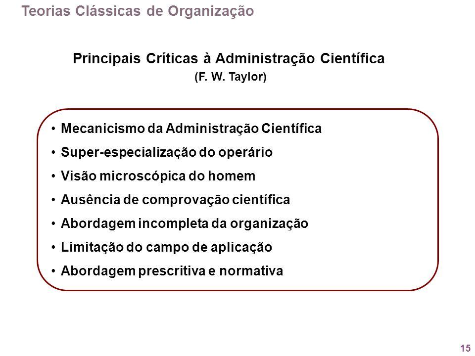 Principais Críticas à Administração Científica
