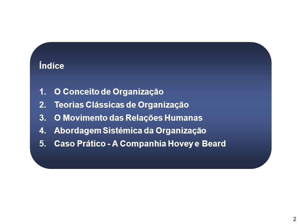 Índice O Conceito de Organização. Teorias Clássicas de Organização. O Movimento das Relações Humanas.