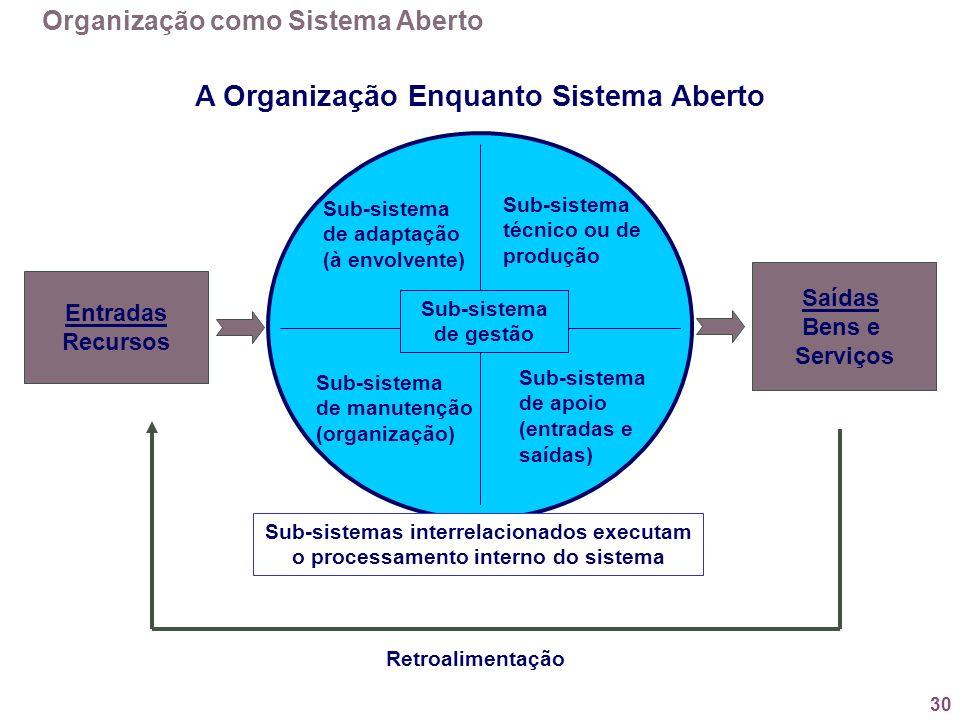 A Organização Enquanto Sistema Aberto