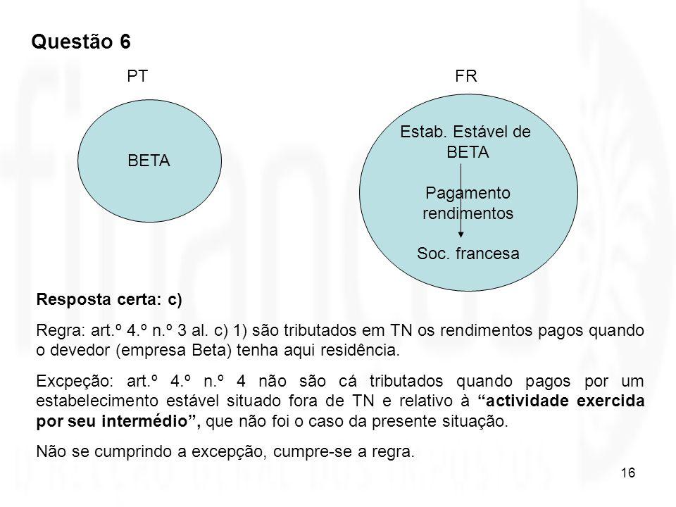 Questão 6 PT FR Estab. Estável de BETA Pagamento rendimentos