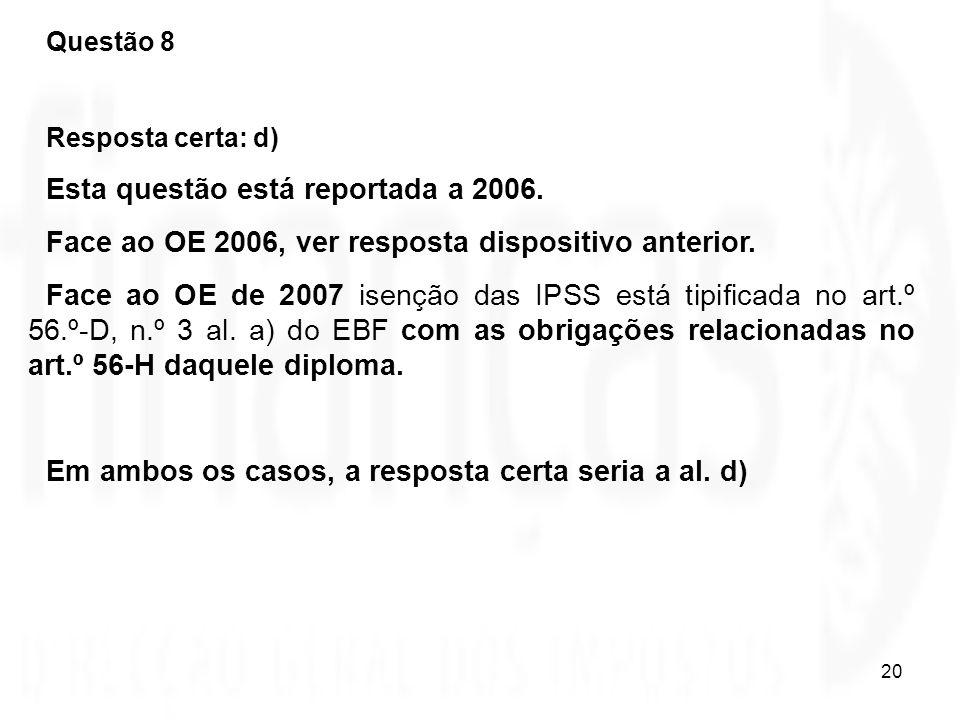 Esta questão está reportada a 2006.