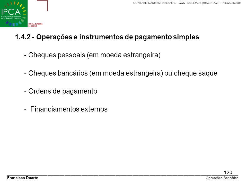 1.4.2 - Operações e instrumentos de pagamento simples