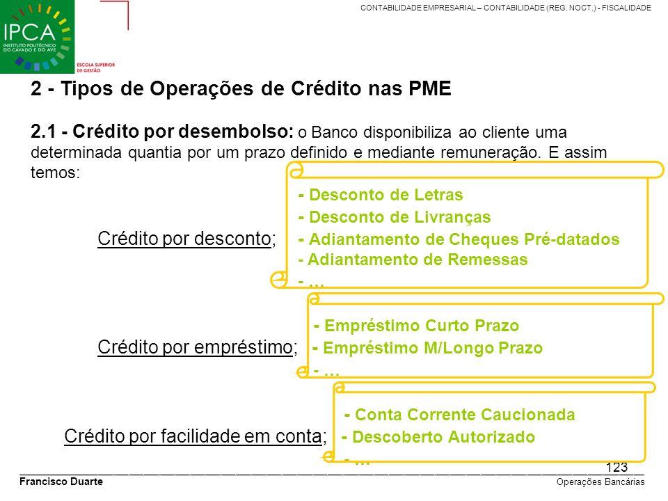 2 - Tipos de Operações de Crédito nas PME