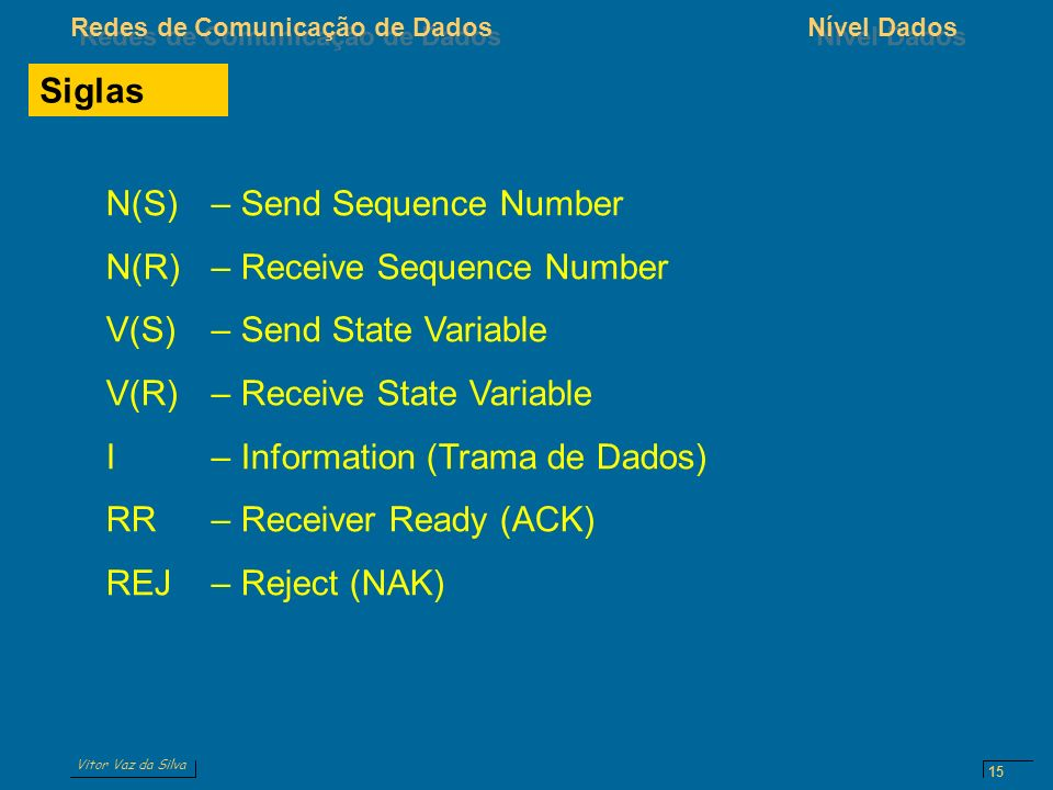 Siglas N(S) – Send Sequence Number. N(R) – Receive Sequence Number. V(S) – Send State Variable. V(R) – Receive State Variable.