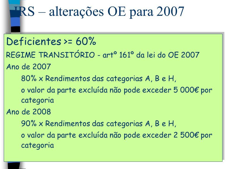 IRS – alterações OE para 2007