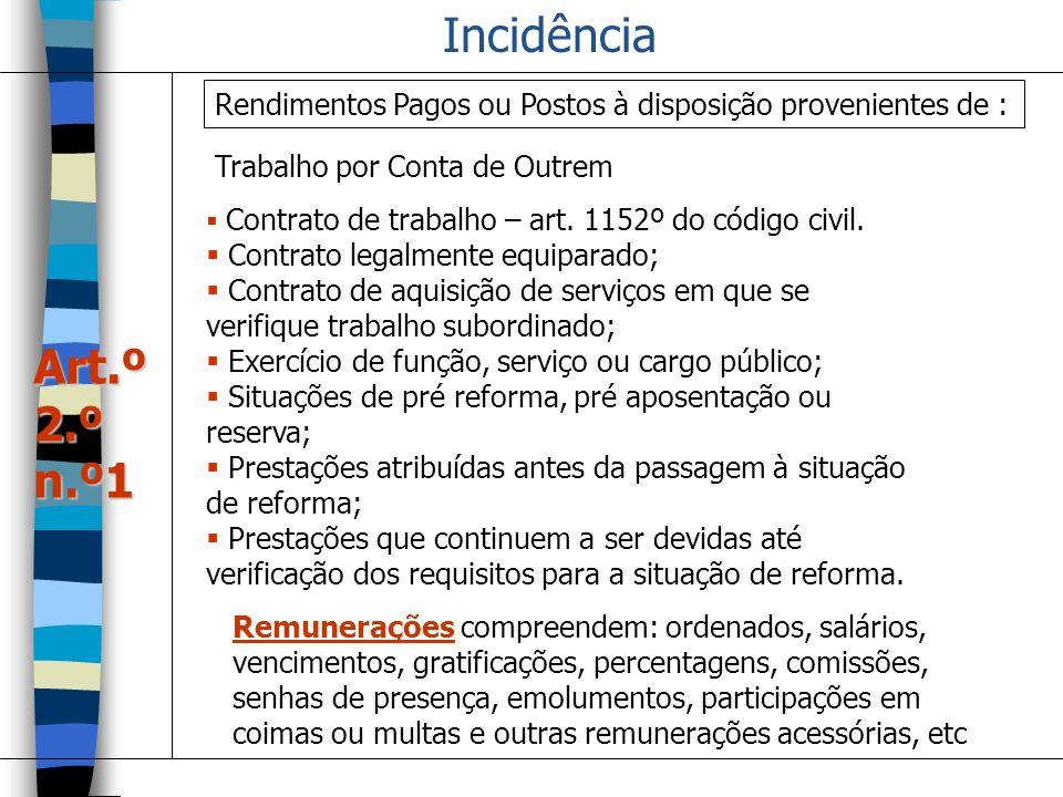 Incidência Rendimentos Pagos ou Postos à disposição provenientes de : Trabalho por Conta de Outrem.