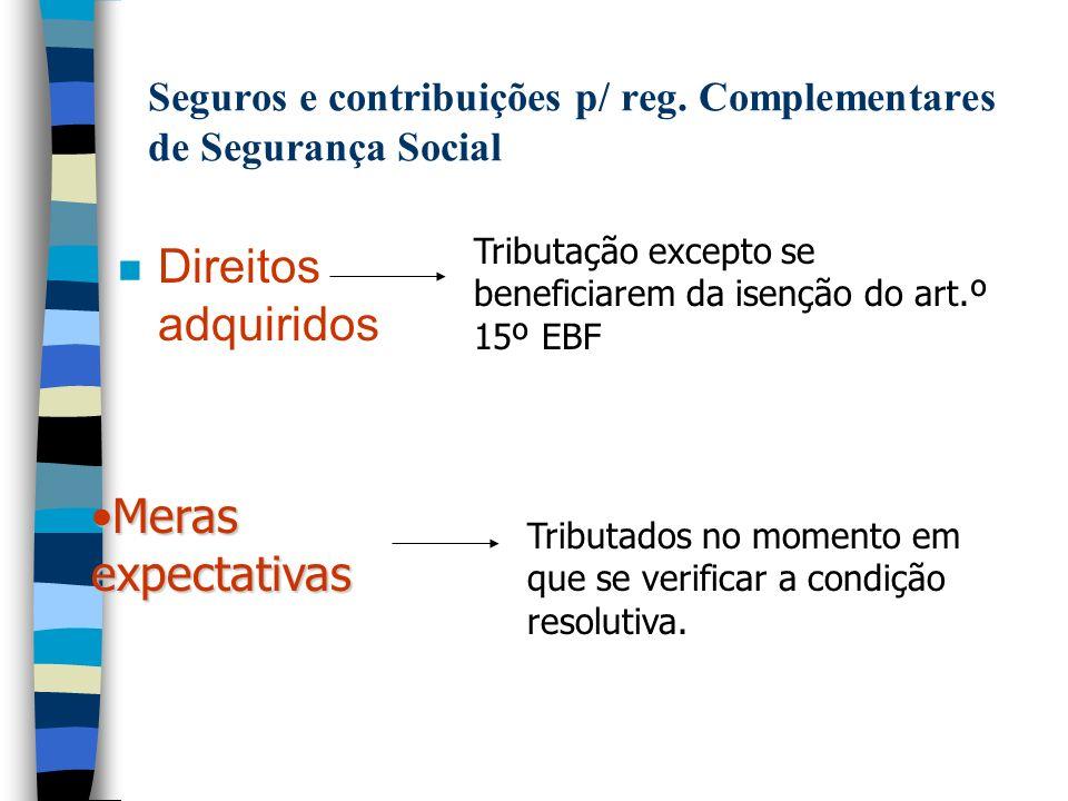 Seguros e contribuições p/ reg. Complementares de Segurança Social