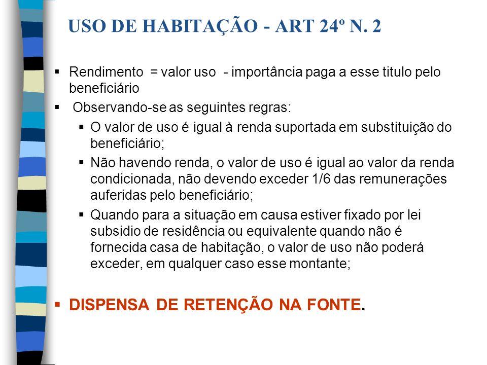 USO DE HABITAÇÃO - ART 24º N. 2