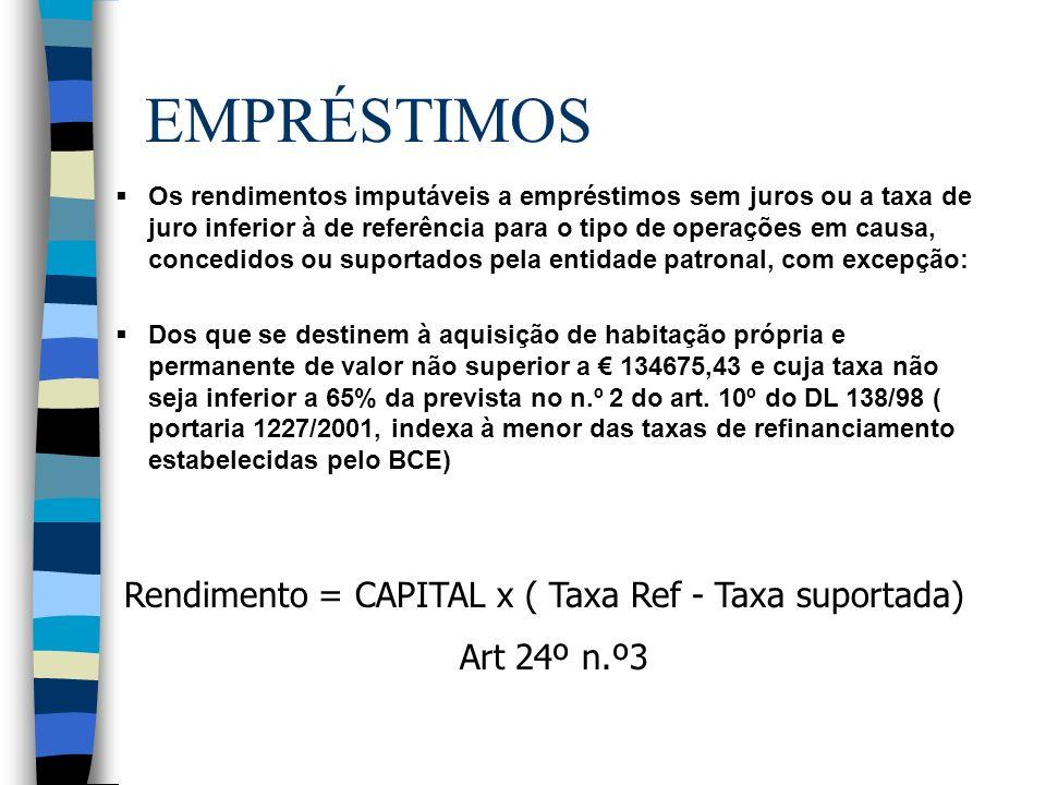 EMPRÉSTIMOS Rendimento = CAPITAL x ( Taxa Ref - Taxa suportada)